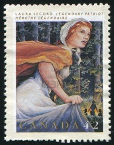 This stamp, part of a series for honouring famous Canadian women, was issued by Canada Post in 1992. It reads; 'Laura Secord, Lengendary Patriot' and depicts her on her June 1813 walk into history.