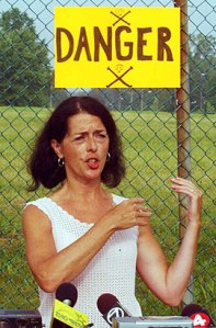 Lois Gibbs, speaking in more recent years outside a fence where some 18,000 tonnes of toxic wastes remain buried in the Love Canal area.