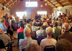 Niagara area residents gather at a meeting hall this past September to debate plans for another deer hunt in Short Hills Provincial Park. Photo by Doug Draper