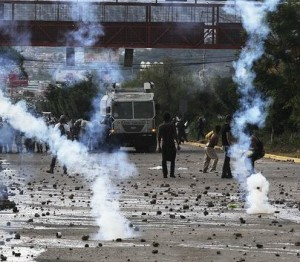Tear gas in the streets of Honduras during this November's elections there.