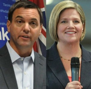 Ontario Tory Tim Hudak, on left, and NDP leader Anrea Horwath, have radically different views on corporate tax cuts and job creation in Ontario.