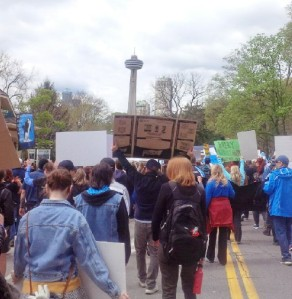 A march to Marineland in Niagara Falls, Ontario as a voice for inprisoned marine mammals at that amusement park site.