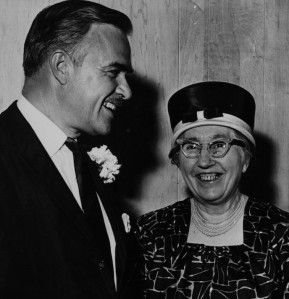 Ontario Premier John Robarts with Flora Egerten celebrating in 1963, celebrating the soon-to-be launched Brock University in Niagara, Ontario