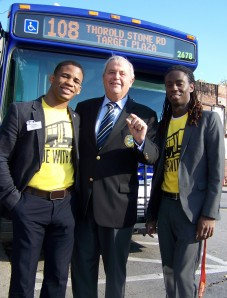 Niagara Regional Chair Gary Burroughs, middle, take a ride on the bus with Brock University stdent unin rep. Kyle Rose, left, and Niagara Callege student council rep.l Shane Malcolm early this October in support f a region-wide transit system. Photo by Doug Draper