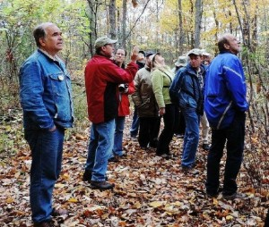 Author of this post, conservationist John Bacher, joins others recently on a tour of  the Irish Grove Forest in Grimsby. Photo courtesy of Richard Young.