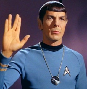 Leonard Nimoy in his iconic Star Trek role as Spock