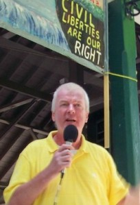 Peter Kormos speaks out at a public rally in St. Catharines' Montobello Park following the disgraceful arrests at the G20 Summit in Toronto, where few other provicincial or federal reps in this region had the courage to do it. File photo by Doug Draper