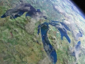 The Great Lakes from space. The largest single basin for fresh water in the world. Do we still care enough to save them?
