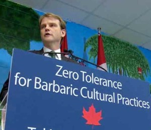 Harper's Minister of Citizenship and Immigration Chris Alexander stands up for 'Canadian values' and against what his party calls 'barbaric cultural practicies'.