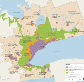 The green in this map of a southwest Ontario that includes Niagara shows green where the protective Greenbelt is located now. Citizen groups want the protective area expanded.