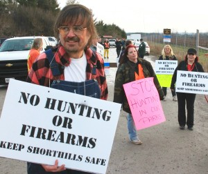 People opposed to deer hunt protest near one of the entrances to Short Hills Provincial Park during a previous year's hunt.