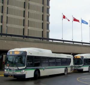 Transit buses make stop at St. Catharines campus of Brock Univesity. Photo by Doug Draper