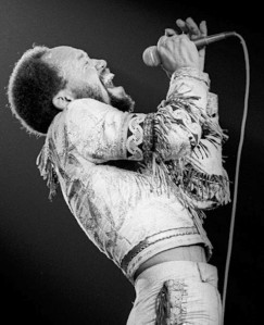 Maurice White belting one out during an Earth, Wind & Fire performance.