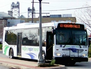 """One of Niagara Region's few """"inter-municipal"""" buses makes a stop in Welland. File photo by Doug Draper"""