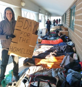 Jonas Gillespie was one of the Brock University students who slept outside at last year's 5 Days for the Homeless campaign.