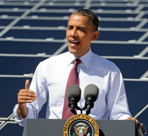 U.S. President at a solar power facility last year, making a pitch for his Clean Power Plan