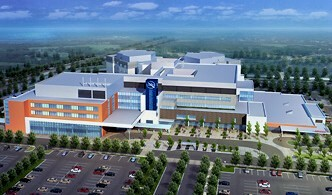 A computer image of the new super-hospital in west St. Catharines, released by the Niagara Health System prior to the hospital's construction and opening.