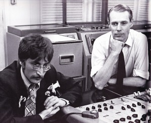 Producer George Martin, right, listens to a playback with John Lennon, during the recording of the Sgt. Petter's album in 1967.