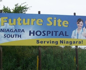 This billboard stands where at least some hope another new hospital will go in Niagara Falls, Ontario's southwest end. File photo by Doug Draper