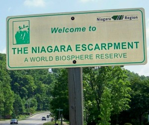 One of many signs in the Niagara, Ontario area, welcoming people to the Escarpment area as a designated 'World Biosphere
