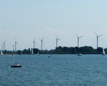 Wind energy turbines in action along the shores of Lake Erie in the Buffalo, New York area. File photo by Doug Draper