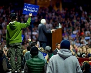 bernie rally closeup