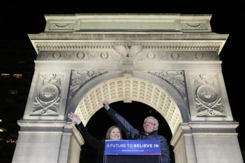 Bernie Sanders and his wife Jane at a recent rally of more than 25,000 supporters in New York City's Washington Square Park