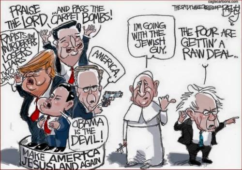 cartoon pope voting for sanders