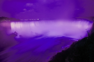 The foaming waters of the Horseshoe Falls, bathed in night lights. File photo courtesy of the Niagara Parks Commission