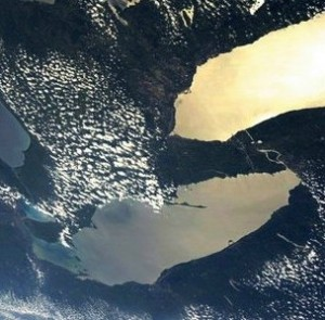 The lower Great Lakes from somewhere up there in space.