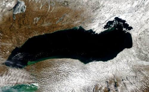 A satellite image of Lake Ontario taken Feb. 22, 2016. Credit: NOAA/MODIS