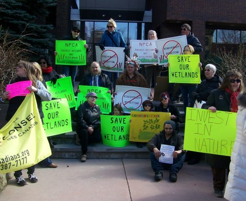 "Niagara area residents demonstrate before Niagara Falls council meeting on wetland ""offsetting"" scheme."