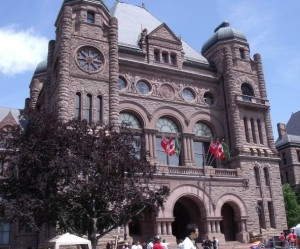 The Ontario legislature at Queen's Park in Toronto where the controversy over political fundraising rages on.