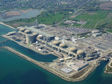 The mammoth Pickering nuclear plant along the northern shores of Lake Ontario