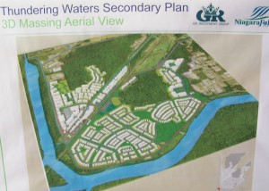 An overview image of the Thundering Waters development project, displayed at a recent public information meeting in Niagara Falls, Ontario where the massive development would go
