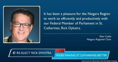 Niagara Regional Chair Alan Caslin, wearing the chain of office representing all citizens of Niagara, Ontario, in an ad supporting the candidacy of Harper Tory and since defeated St. Catharines MP Rick Dykstra during last October 2015 federal election