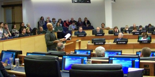Niagara, Ontario citizen Ed Smith speaking in opposition of destroying significantly significant wetlands for urban development at an April 7th meeting of regional council