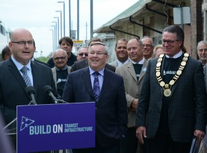 Ontario Transportation Minister Steven Del Duca (left) with St. Catharines MPP Jim Bradley and Niagara regional chair Allan Caslin at June 28th Go Train announcement.