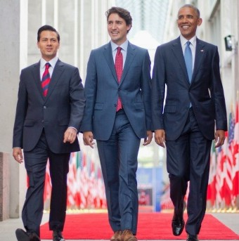 Mexican President Enrique Peña Nieto, Canadian Prime Minister Justin Trudeau, and U.S, President Barack Obama