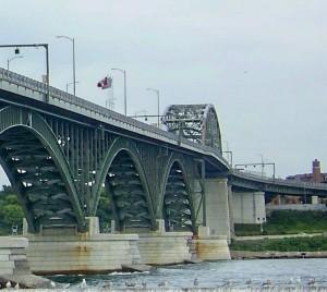 The Peace Bridge crossing between Niagara, Ontario and Buffalo, New York