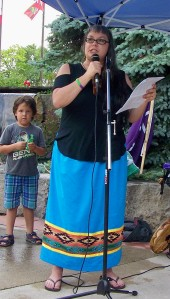 Celeste Smith delivers statement at rally to save Thundering Wates Forest in Niagara Falls, Ontario. Photo by Doug Draper