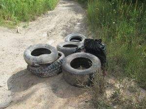 Some of the old tires removed from the Thundering Waters area by citizen volunteers