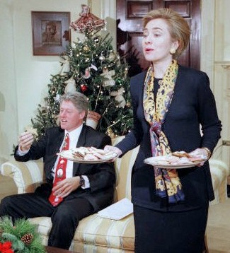 Hillary Clinton, bowing to calls from opponents that as First Lady in 1993, she should be baking cookies, not working with her president/husband on health care policies.