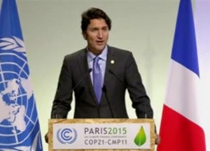 Canada's new prime minister Justin Trudeau addresses Climate Summit in Paris last December