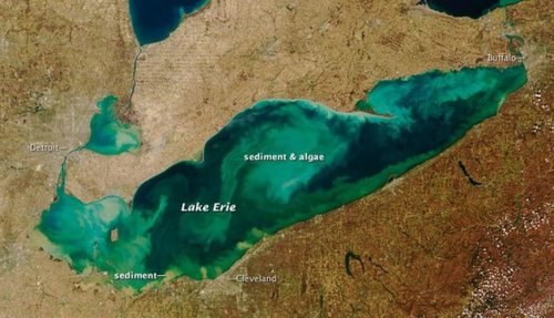 Blue-green algae clusters in Lake Erie, an upstream source of drinking water for Niagara residents. This NASA photo was taken a few years ago. Concern has been growing about phosphorus and other pollutants from human activities causing a growing toxic algae problem in the Great Lakes