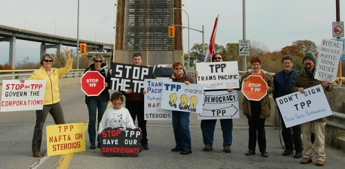 Some Niagara, Ontario citizens rally in opposition to TPP Trade Deal