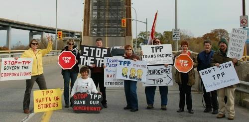 Some Niagara, Ontario citizens rally in opposition to TPP Trade Deal