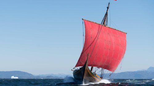 The Viking ship Draken Harald Harfagre in full sail on the seas. File photo from the ship's website