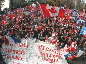 One of many rallies across Canada in 1995 for moving forward with a country that includes Quebec