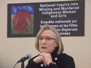 Federal Minister Carolyn Bennett speaking at another recent event on murdered and missing indigenous women and girls.